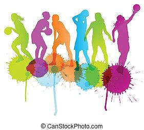 kosárlabda elpirul, elvont, játékosok, vektor, háttér,...