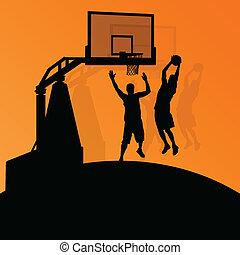 kosárlabda, elvont, fiatal, ábra, játékosok, körvonal,...