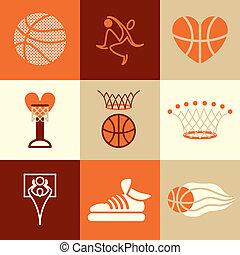 kosárlabda, ikonok, vektor, állhatatos