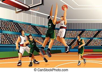 kosárlabda, játék, verseny, emberek