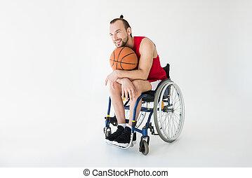 kosárlabda játékos, ülés, alatt, tolószék