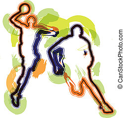 kosárlabda játékos, alatt, action., vektor