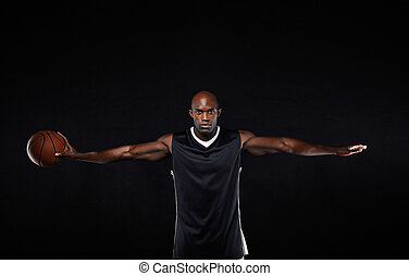 kosárlabda játékos, noha, övé, fegyver outstretched