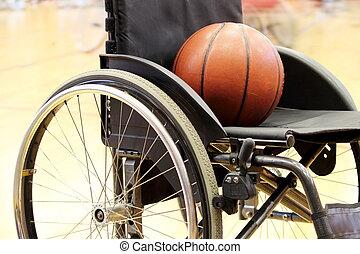 kosárlabda, képben látható, egy, tolószék kosárlabda, játék