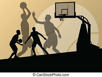 kosárlabda, poszter, fiatal, ábra, játékosok, körvonal, vektor, háttér, aktivál, sport