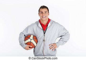 kosárlabda, trainer., mosolygós, edző, noha, kosárlabda