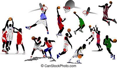 kosárlabda, vektor, players., ábra