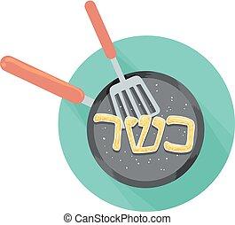 kosher, alimento, cozinhar, ilustração