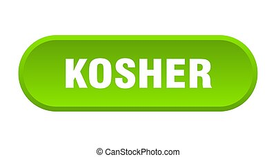 kosher button. kosher rounded green sign. kosher