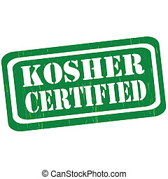 Kosher Certified-stamp - Grunge rubber stamp with text ...