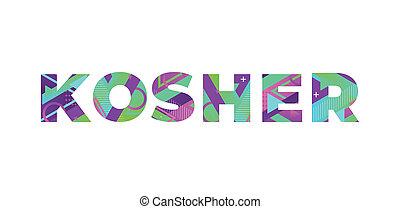 Kosher Concept Retro Colorful Word Art Illustration