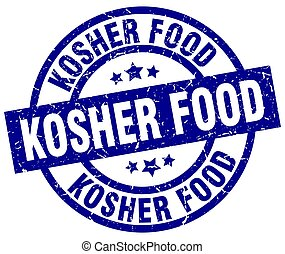 kosher food blue round grunge stamp