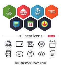 Kosher food product icons. Natural meal symbol. - Calendar,...