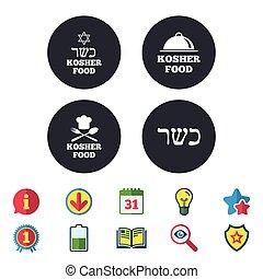 Kosher food product icons. Natural meal symbol. - Kosher...