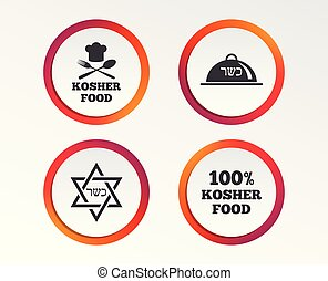 Kosher food product icons. Natural meal symbol. - Kosher...