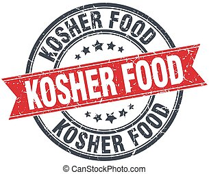 kosher food red round grunge vintage ribbon stamp