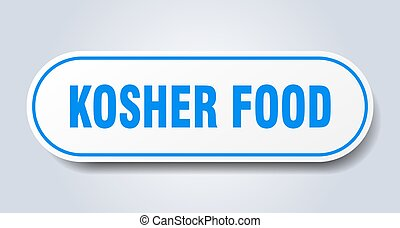 kosher food sign. rounded isolated button. white sticker - ...