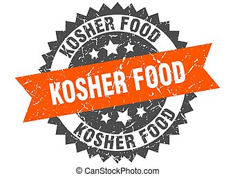kosher food stamp. grunge round sign with ribbon - kosher ...