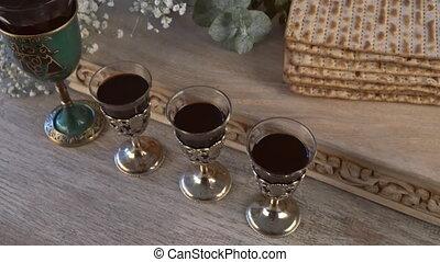 Kosher four glasses wine passover bread holiday jewish matzoh celebration