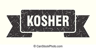 kosher grunge ribbon. kosher sign. kosher banner