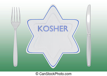 KOSHER - jewish concept - 3D illustration of KOSHER title on...