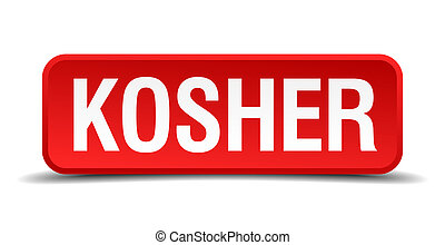Kosher red 3d square button isolated on white