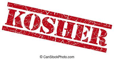 kosher red grungy stamp on white background