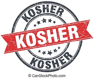 kosher red round grunge vintage ribbon stamp