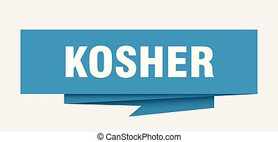 kosher sign. kosher paper origami speech bubble. kosher tag...