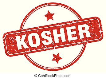 kosher sign - kosher vintage round isolated stamp