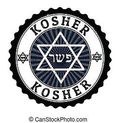 Kosher stamp - Kosher grunge rubber stamp on white, vector...