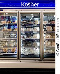 kosher, supermercado, refrigerador, alimento