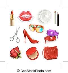 kosmetika, damen, tillbehör, handväska, röd