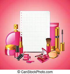 kosmetikker, hos, blank, avis, vektor, baggrund