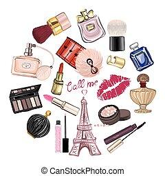 kosmetikker, sæt, stram, tilbehør, hånd