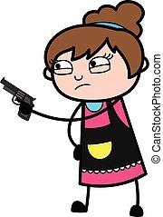 kosmetolog, tecknad film, pekande gevär