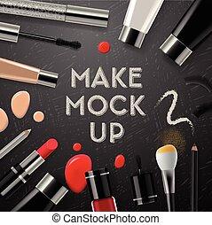 kosmetyki, makijaż, przybory, zbiór, mockup