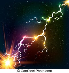 kosmický, duha, plazma, lesklý, barvy, blesk