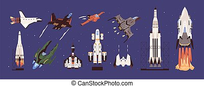 kosmiczny, collection., planetarny, rakiety, spacecraft, projektowany, pojazd, obserwacja, przestrzeń, set., maszyny, zewnętrzny, equipment., travelling., wektor, transport., ziemia, badanie, mucha, spaceships