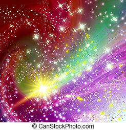 kosmisch, ruimte, met, vliegen, komeet
