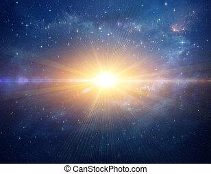 kosmisch, ster, stoot, in, buitenste ruimte