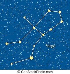 kosmisch, symbool, hemel, maagd, achtergrond, zodiac