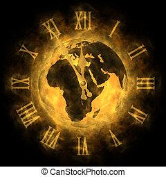 kosmisch, tijd, -, globaal verwarmend, en,...