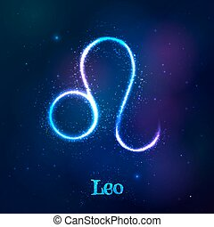 kosmisk, lysande, neon, zodiaken, blå, lejonet, symbol