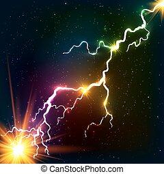 kosmisk, regnbåge, plasma, lysande, färger, blixt