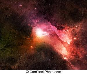 kosmisk, stjärnbeströdd himmel, natt, damm, lysande