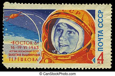 kosmonaut, stämpel, serie, -, 1963, ussr, tereshkova, ...