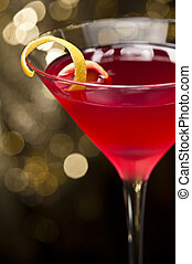 kosmopolityczny, garnirować, cytryna, cocktail