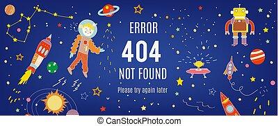 kosmos, 404, chorągiew, ilustracja, błąd