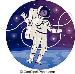 kosmos, astronauta, icon., spacesuit, ruchomy, podróż, ...
